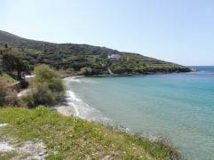 Stivari Beach, which has a taverna right on the water.