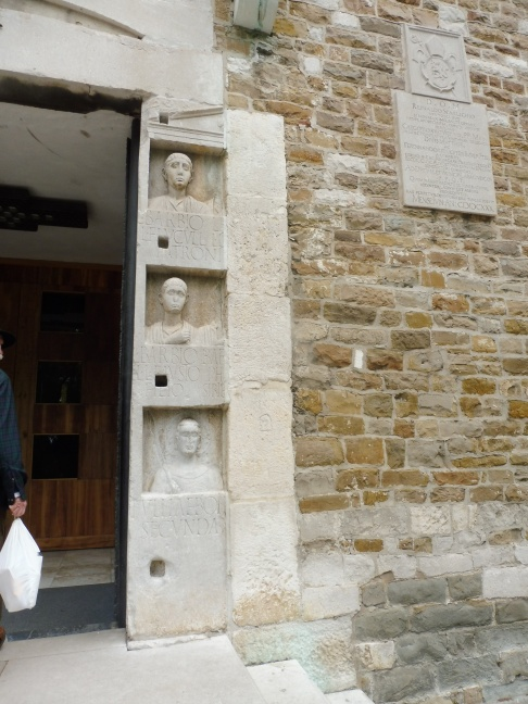 A Roman funeral stele incorporated into the Cathedral as a door jamb.