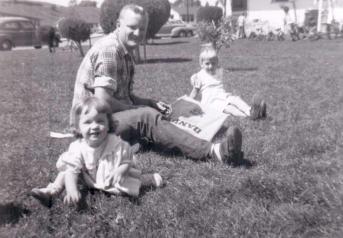 Making a kite with me & my sister Christa, PIlgrim Terrace, Santa Barbara, 1953