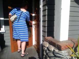 Opening the door in Pasadena