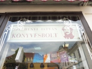 The sign means Book Shop in Magyar!