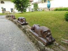 IN the courtyard of the Museum, the lions that originally stood at the entrance to the factory are on display.