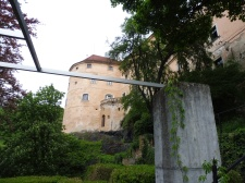 The Schloss tower with an edge of the arbor work by Heimo Zobernig
