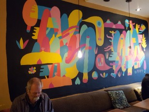 A mural in Naked Lounge Cafe, downtown Chico
