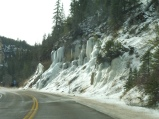 Entering Hwy 14 outside of Cedar City, Utah. A frozen waterfall.