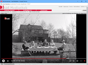 "A screen shot from Thomas Elsaesser's ""Sun Island,"" showing a family member sitting in German uniform at a family gathering during WWII."