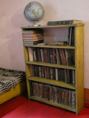 The bookcase in the study holding Trotsky's own library