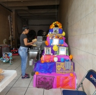 A shop in Ajijic, with its homemade Dia de los Muertos altar