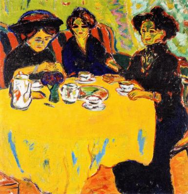 Ernst Ludwig Kirchner, Coffee drinking women, painting, 1907